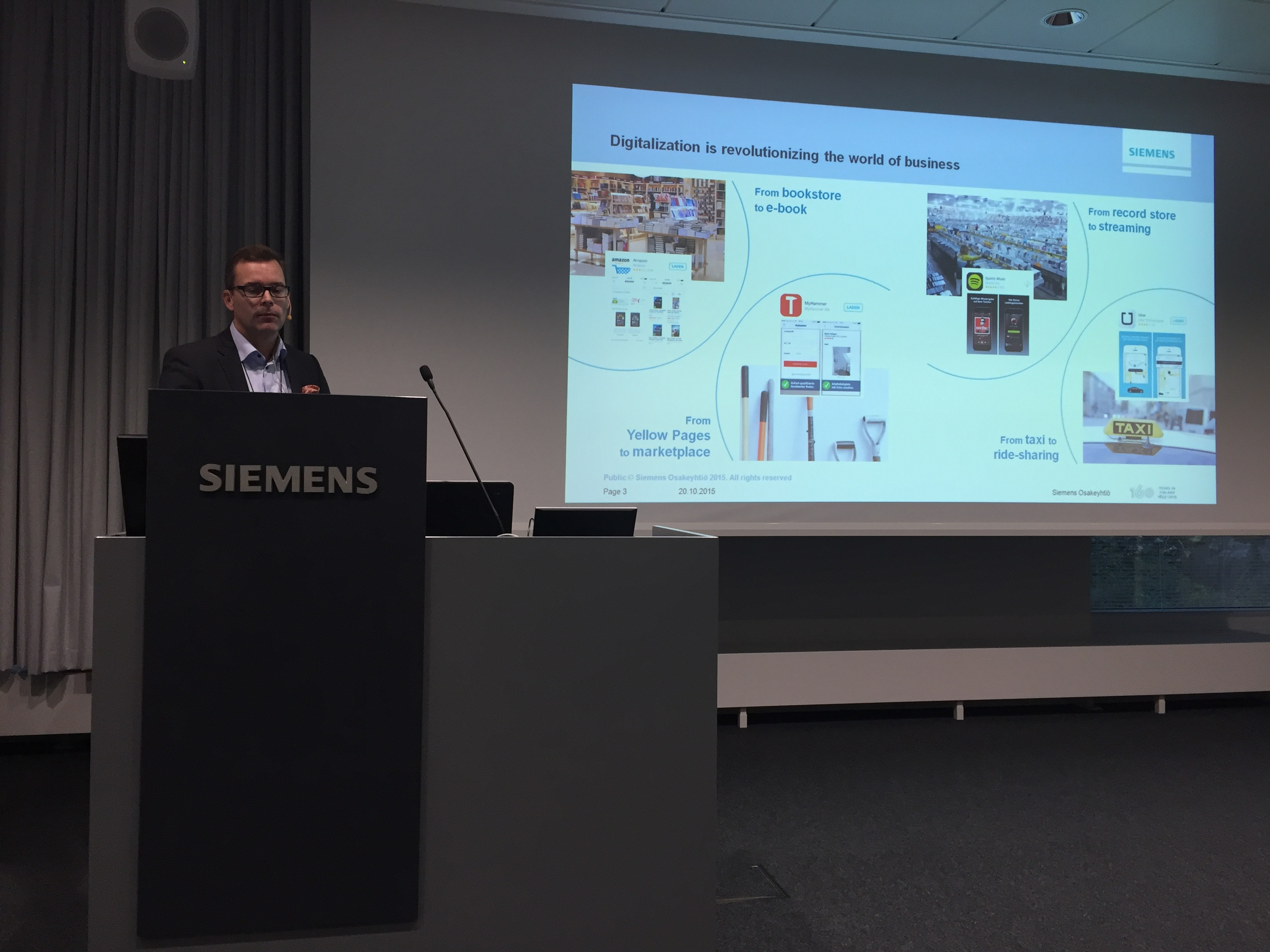 Janne Öhman, Siemens Osakeyhtiö speaking about Industry 4.0