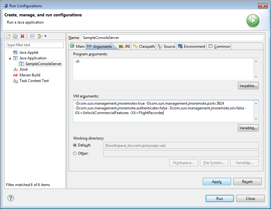 More VM arguments added before starting SampleConsoleServer